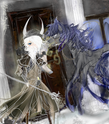 This illustration portrays Odin and his spectral horse Sleipnir taking a slight moment to unwind during Yule.