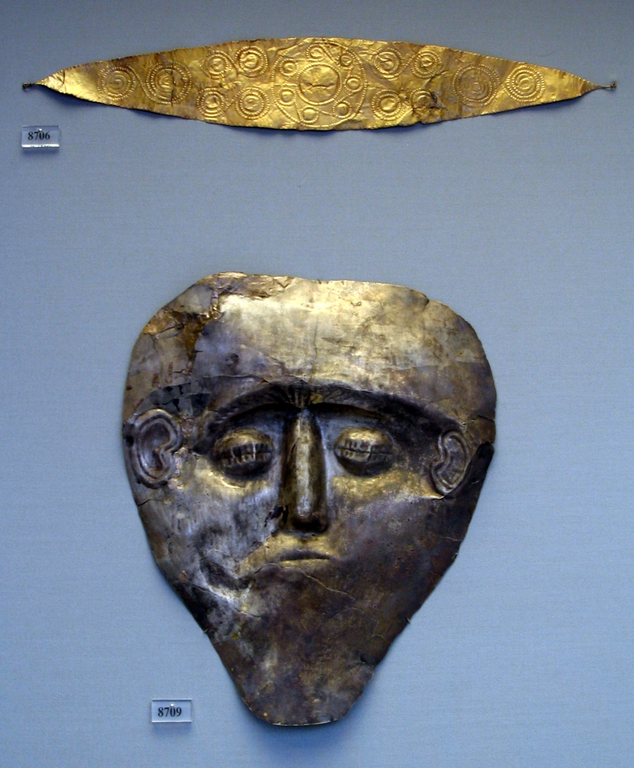 Electrum Mycenaean death mask
