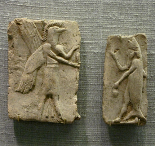 Assyrian plaques depicting a winged demon and a fish-man/merman